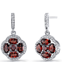 Garnet Clover Dangle Drop Rings Sterling Silver 2.5 Carats SE8670