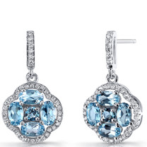 Swiss Blue Topaz Clover Dangle Drop Earrings Sterling Silver 2.5 Carats SE8674