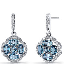 London Blue Topaz Clover Dangle Drop Earrings Sterling Silver 2.5 Carats SE8676