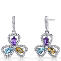 Amethyst Citrine Swiss Blue Topaz Trinity Earrings Sterling Silver SE8688