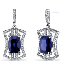 Created Blue Sapphire Art Deco Drop Earrings Sterling Silver 6.5 Carats SE8690
