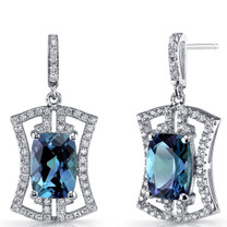 Simulated Alexandrite Art Deco Drop Earrings Sterling Silver 6.5 Carats SE8692