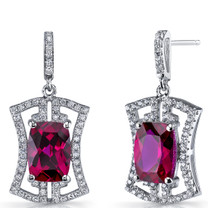 Created Ruby Art Deco Drop Earrings Sterling Silver 6.5 Carats SE8696