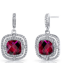 Created Ruby Cushion Cut Dangle Drop Earrings Sterling Silver 6 Carats SE8698
