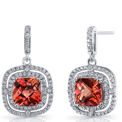 Created Padparadscha Sapphire Cushion Cut Dangle Drop Earrings Sterling Silver 6 Carats SE8704