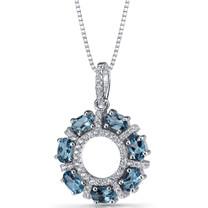 London Blue Topaz Dahlia Pendant Necklace Sterling Silver 1.75 Carats SP11190