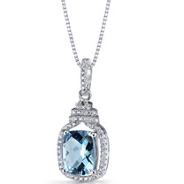 Swiss Blue Topaz Halo Crown Pendant Necklace Sterling Silver 3.25 Carats SP11198