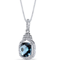London Blue Topaz Halo Crown Pendant Necklace Sterling Silver 3.25 Carats SP11200