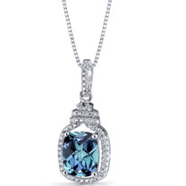 Simulated Alexandrite Halo Crown Pendant Necklace Sterling Silver 3.75 Carats SP11206
