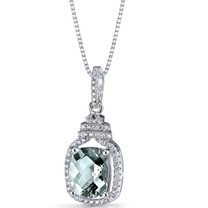 Green Amethyst Halo Crown Pendant Necklace Sterling Silver 2.5 Carats SP11212