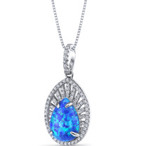 Created Blue Opal Nebula Pendant Necklace Sterling Silver 2.25 Carats SP11214