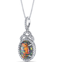 Created Black Opal Harlequin Pendant Necklace Sterling Silver 2.25 Carats SP11216