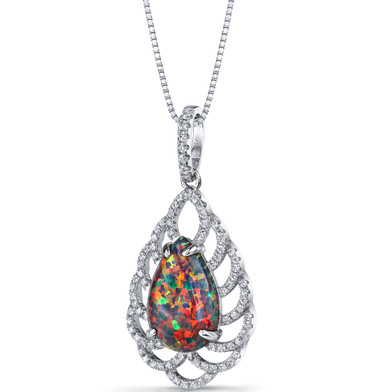 Created Black Opal Vintage Pendant Necklace Sterling Silver 2.75 Carats SP11220