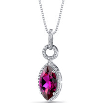 Created Ruby Marquise Pendant Necklace Sterling Silver 3.5 Carats SP11224