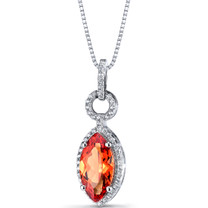 Created Padparadscha Sapphire Marquise Pendant Necklace Sterling Silver 3.5 Carats SP11230