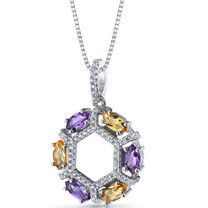 Amethyst and Citrine Hexagon Pendant Necklace Sterling Silver 1.2 Carats SP11232