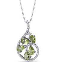 Peridot Dewdrop Pendant Necklace Sterling Silver 2.5 Carats SP11244