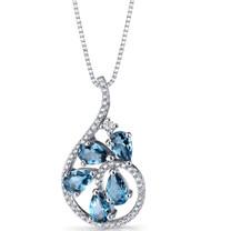 London Blue Topaz Dewdrop Pendant Necklace Sterling Silver 2.5 Carats SP11248