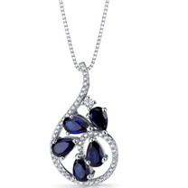 Created Blue Sapphire Dewdrop Pendant Necklace Sterling Silver 2.5 Carats SP11250