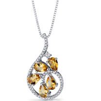 Citrine Dewdrop Pendant Necklace Sterling Silver 1.25 Carats SP11254