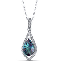 Simulated Alexandrite Teardrop Pendant Necklace Sterling Silver 3.75 Carats SP11262