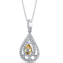Citrine Chandelier Pendant Necklace Sterling Silver 0.5 Carats SP11264
