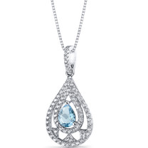 Swiss Blue Topaz Chandelier Pendant Necklace Sterling Silver 0.75 Carats SP11272