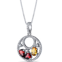 Garnet and Citrine Double Hoop Pendant Necklace Sterling Silver 1.5 Carats SP11284