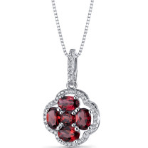 Garnet Clover Pendant Necklace Sterling Silver 2.25 Carats SP11290