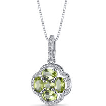 Peridot Clover Pendant Necklace Sterling Silver 2.25 Carats SP11292