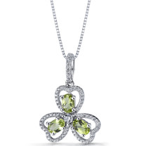 Peridot Trinity Pendant Necklace Sterling Silver 1.5 Carats SP11304