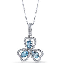 London Blue Topaz Trinity Pendant Necklace Sterling Silver 1.5 Carats SP11306