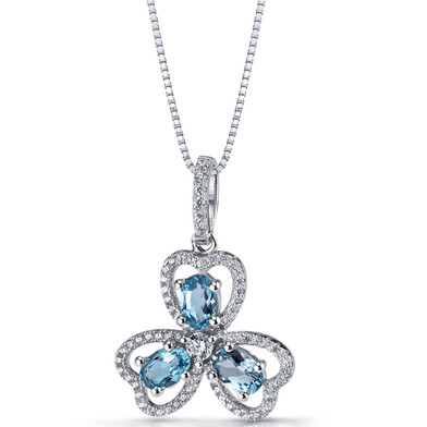 London Blue Topaz Trinity Pendant Necklace Sterling Silver 1.5 Carats SP11306