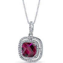 Created Ruby Cushion Cut Pendant Necklace Sterling Silver 4.25 Carats SP11318