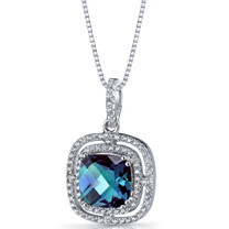 Simulated Alexandrite Cushion Cut Pendant Necklace Sterling Silver 4.25 Carats SP11320