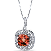 Created Padparadscha Sapphire Cushion Cut Pendant Necklace Sterling Silver 4.25 Carats SP11324