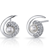 4.5mm Freshwater Cultured White Pearl Casual Sterling Silver Earrings SE8714