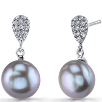 10.00mm Freshwater Cultured Grey Pearl Twilight Sterling Silver Earrings SE8718