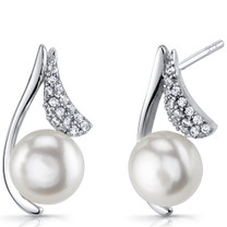 Sterling Silver 7.5mm Freshwater Cultured White Pearl Moonflower Earrings SE8720