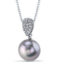 11.50mm Freshwater Cultured Grey Pearl Twilight Sterling Silver Pendant Necklace SP11326
