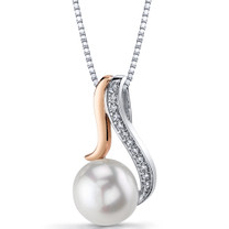10.00mm Freshwater Cultured White Pearl Rose Goldtone Sterling Silver Pendant Necklace SP11328