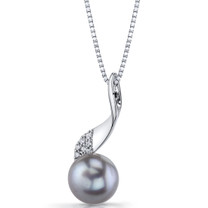 10.0mm Freshwater Cultured Grey Pearl Swirl Sterling Silver Pendant Necklace SP11334
