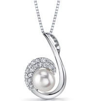 8.0mm Freshwater Cultured White Pearl Casual Sterling Silver Pendant Necklace SP11336