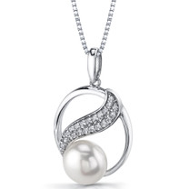 9.0mm Freshwater Cultured White Pearl Artemis Sterling Silver Pendant Necklace SP11344
