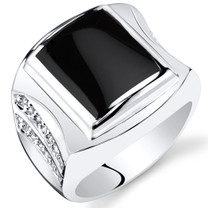 Mens Rectangle Onyx Centurion Ring Sterling Silver Sizes 8 To 13 SR11494