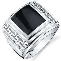 Mens Greek Key Onyx Chunky Ring Sterling Silver Sizes 8 To 13 SR11500