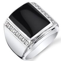 Mens Black Onyx Aston 925 Sterling Silver CZ Ring Sizes 8 To 13 SR11502