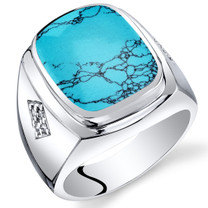 Mens Cushion Cut Simulated Turquoise Knight Ring Sterling Silver Sizes 8 To 13 SR11508