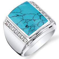 Mens Simulated Turquoise Aston 925 Sterling Silver CZ Ring Sizes 8 To 13 SR11512