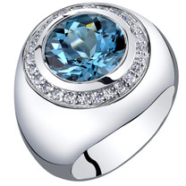 Mens 5.50 Carats London Blue Topaz Signet Ring Sterling Silver Sizes 8 to 13 SR11522